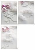 Tying a festive wreath of feathers, candles & baubles