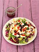Chicory and radicchio salad with Camembert, grapes, apple and cranberry vinaigrette