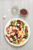 Radicchio and chicory salad with Camembert, apples, grapes and cranberry vinaigrette