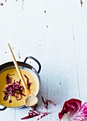 Cream of chestnut soup with radicchio