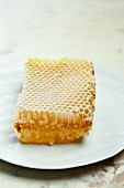 A honeycomb on a white plate