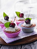 Cherry muffins with vanilla cream
