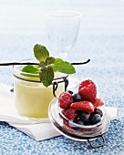Vanilla cream in a glass with berries