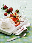 Strawberry salad with meringue
