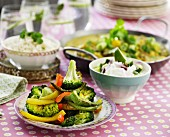 Baked pepper and broccoli medley on a laid table
