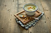 Broccoli soup with creme fraiche and fried batter pearls