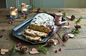 Quark stollen with icing sugar for Christmas