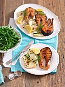 Grilled salmon marinated with soy sauce and honey with fennel