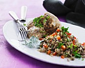 Chicken breast with bulgur salad