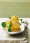 Herb yogurt balls with egg and watercress
