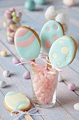Egg-shaped biscuits on stick with pastel-coloured icing