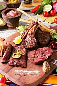 A grill platter with beef and lamb