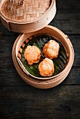Prawn dumplings in a bamboo steamer (Asia)