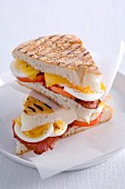 Pita bread sandwiches with bacon and egg