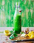 Black kale and wild garlic smoothie with yellow peppers and fresh coriander