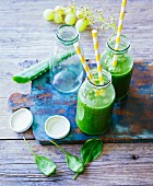 Kiwi and grape smoothie with young spinach, chard and aloe vera