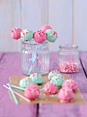 Pink and mint-green cake pops