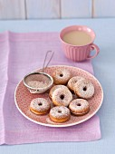 Mini doughnuts with icing sugar and cinnamon