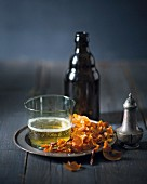 Butternut squash crisps and beer