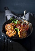 Fish cakes with pumpkin and leek