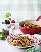 Spaghetti with lentil ratatouille