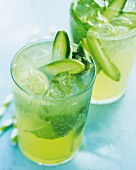 Cucumber and tonic coolers with mint