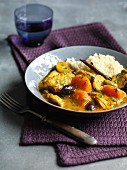 Chicken with pumpkin, olives and rice