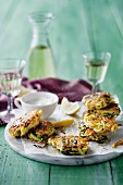 Garlic and courgette fritters with mint