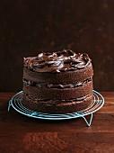 A layered chocolate tart