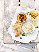 Assorted dips with flatbread