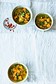 Sweet potato soup with coconut, chilli and coriander