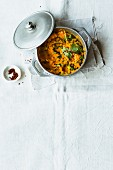 Mashed sweet potatoes with lemongrass and fresh coriander