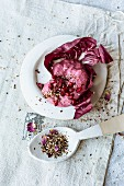 Beetroot, goats cream cheese and pomegranate molasses hummus