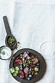 Beluga lentil salad with beetroot and blueberries