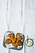 Turnip cakes with a spicy orange cream cheese