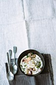 Black salsify ragout with shallots and cream cheese