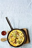 Breakfast omelette with Jerusalem artichokes and shallots
