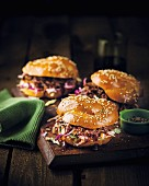 Barbecue sandwiches with julienned vegetables