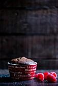 Chocolate pudding and raspberries