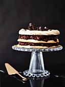 A chilli and chocolate cream dacquoise on a cake stand