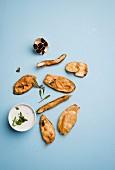Aubergine tempura with a dip