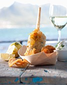 Monk fish in beer batter with potato chips