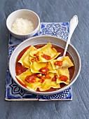 Ravioli with venison in tomato sauce