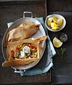 Mediterranean vegetables with goat's cheese in parchment paper