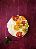 A citrus fruit cake with cream cheese frosting