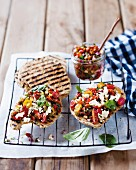 Grilled unleavened bread with salsa