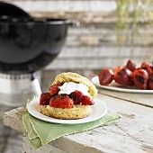 Strawberry shortcake with grilled strawberries
