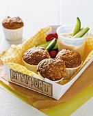 Oat and apple muffins and vegetable sticks