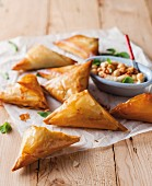 Filo pastry pasties filled with mushrooms and spinach