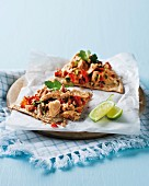 Tostadas with hummus and salmon